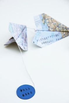 Paper Airplane Garland from Map Pages  Instructions for Folding Airplanes:   http://images.marthastewart.com/images/content/web/pdfs/pdf1/airplane.pdf