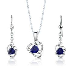 Sterling Silver Rhodium Finish Trillion Cut Sapphire Pendant Earrings and 18 inch Necklace Set Peora. $44.99. Save 68% Off!