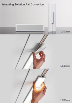 This rail connection solution also allows you to magnetically connect lighting units together in a series. This application uses cased and DC-DC driver integrated 200x50mm LG Chem OLED light panels and AC-DC driver which supplies DC to the conductor rail.  www.lgoledlight.com  #LGChem #OLED #light #mountingsolution #raillighting #railconnection