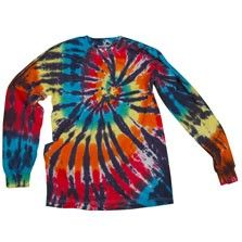 This super awesome rainbow spiral longsleeve tie dye keeps the hippie party going even when the temperatures drop! A classic style in soft 100% cotton.  $22.00
