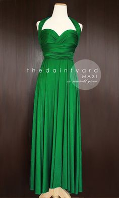 MAXI Emerald Green Bridesmaid Convertible Infinity Multiway Wrap Dress Green Wedding Prom Dress Pastel Long Full Length by thedaintyard on Etsy