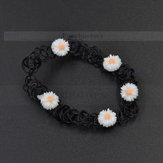 Vintage-Stretch-Tattoo-Choker-Necklace-Daisy-Elastic-Punk-Gothic-80S-90S-White