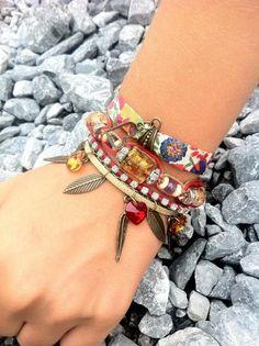 """VENDU! Bracelet-manchette de création """"Eté Indien"""" , Fait-main par De Fils en Bracelets dans la catégorie Bijoux/Bracelets. Situé à Igon, France"""