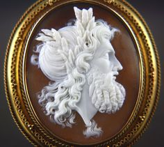 Large Victorian Carved Shell Cameo Of Zeus Mounted In A 14k Yellow Gold Bezel Frame In Classical Etruscan Revival Design c.1850's