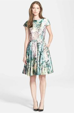 Main Image - Ted Baker London 'Glitch' Floral Print Fit & Flare Dress