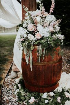 Wedding Photography - Stunning and well planned steps. rustic wedding photography reference 7143873208 created on 20190122 , Wedding Flower Arrangements, Wedding Table Centerpieces, Flower Centerpieces, Floral Arrangements, Centerpiece Ideas, Wine Barrel Flower Arrangements, Rustic Wedding Decorations, Floral Decorations, Table Decorations
