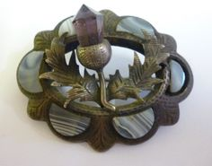VICTORIAN ORNATE SCOTTISH BANDED AGATE SCOTTISH THISTLE SILVER BROOCH