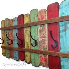 Wood Coat Rack OOAK Cast Iron Coat Hook / Shabby Cottage Beach Chic Coat Rack, Bohemian Furniture, Bathroom Towel Bar, Ships from Canada by RiversideStudioON on Etsy https://www.etsy.com/listing/221679719/wood-coat-rack-ooak-cast-iron-coat-hook