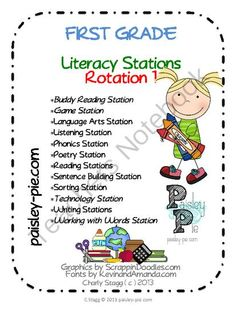 COMPLETE first grade Literacy Stations / Centers rotation 1 (of 5) from Paisley-Pie,by Charly Stagg on TeachersNotebook.com (45 pages)  - Everything you need for an entire week of stations- can be used on a rotating basis- Look for rotations 2-5 to complete your year!