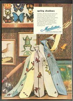 MANHATTAN SHIRT CO. 1953 Neckwear SPRING SHADOW TIES Ad ADVERTISEMENT