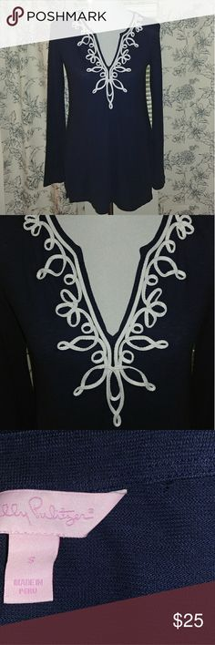 Navy Blue & White Lilly Pulitzer Top Overall great condition! Worn once then dry cleaned. There is a very tiny hole near the size tag, where another tag was (see third pic). It is barely noticible & I will gladly include a small/ travel size sewing kit in case you want to patch it up.   100% Cotton +high quality material   ❤ Lilly Pulitzer Tops
