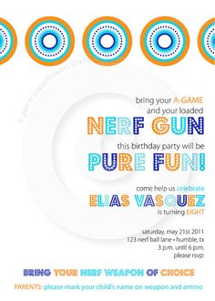 Cute nerf party invite