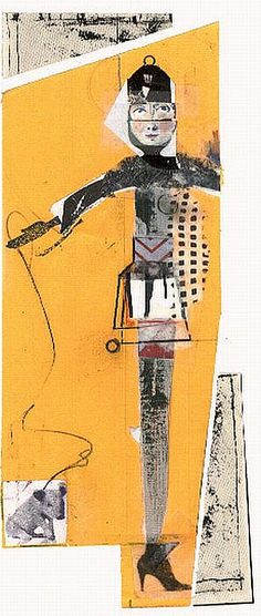 by Wegren: 'out walking' a mixed media collage using found paper, stamps and graphite on yellow paper (sold)