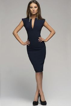 Dark blue dress - Hollywood Ending Pure Colour Pencil Costume dresses Elegant Dresses, Sexy Dresses, Blue Dresses, Dress Outfits, Casual Dresses, Fashion Dresses, Dress Up, Bodycon Dress, Pencil Dress Outfit