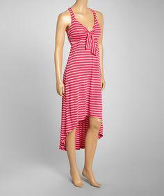 Look at this #zulilyfind! Pink & White Stripe Hi-Low Maxi Dress #zulilyfinds