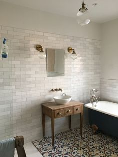 Cast iron roll-top bath, was stand. Small Bathroom, Bathroom Ideas, Bathrooms, Bathroom Interior Design, Interior Ideas, Cement Tiles Bathroom, Cast Iron Bath, Roll Top Bath, House Colors