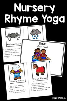 Yoga with a nursery rhyme theme! Perfect for kids yoga. Yoga poses that represent different nursery rhymes! for kids Nursery Rhyme Crafts, Nursery Rhymes Preschool, Nursery Rhyme Theme, Preschool Yoga, Movement Preschool, Preschool Ideas, Toddler Yoga, Rhyming Activities, Time Activities