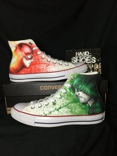One of a kind Hand drawn Arrow and Flash Shoes