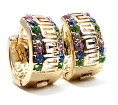 """16MM Greek Key 18k Brazilian Yellow Gold Filled Huggie Earrings, Multicolored Simulated Emerald, Amethyst & Aquamarine Crystals Ziva, LLC. $26.99. Get 15% off your order when you order 2 or more items sold by Ziva, LLC (20% for 4 or more)-use claim code SHOPZIVA at checkout. This means that in addition to looking the same, Gold-Filled jewelry has all of the durability, tarnish resistance, & hypoallergenic properties of solid Gold. Gold Filled is NOT """"plated"""" and is c..."""