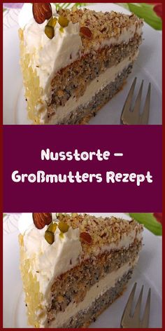 Nut cake - Grandma's recipe- Nusstorte – Großmutters Rezept Ingredients for the dough: 200 g sugar 10 egg yolks 250 g nuts ground 3 tablespoons breadcrumbs a bit bitter almond flavor 10 egg whites 15 … - Chocolate Cake Recipe Easy, Chocolate Recipes, Easy Cookie Recipes, Dessert Recipes, Soup Recipes, Banana Bread Recipes, Food Cakes, Cheesecake Recipes, Cheesecake Cookies