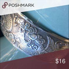 Shiny silver dragon 🐉 cuff bracelet Beautiful fashion bracelet with dragons & phoenix. Bendable silver alloy - nice statement piece. Jewelry Bracelets