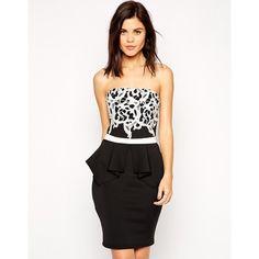 """""""Lipsy Applique Lace Top Bandeau Dress with Peplum"""" found on Polyvore"""