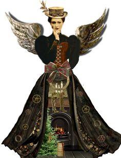 steampunk xmas angel printable