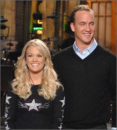 peyton manning wife. Peyton \u0026 Carrey Underwood On SNL. Looking To The Side Snickering. Manning Wife