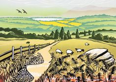 'The Walk To The Lake' By Printmaker Rob Barnes. Blank Art Cards By Green Pebble.