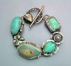 Turquoise and Opal Flower Bracelet 2 by Temi on Etsy