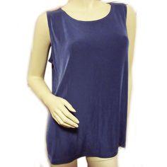 NEW VIKKI VI MADE in USA Women Woman BLUE TEAL Gray SLEEVELESS Tank TOP PLUS 0X $65  #VikkiVi #TankCami #Casual
