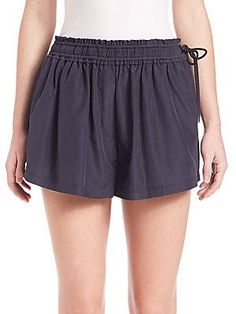 3.1 Phillip Lim Silk-Blend Cheeky Shorts - Ink - Size