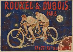 French Bicycle Poster - Cyclists - Vintage Bike Poster - Bicyclist in Tandem - Celestial Poster - Rouxel & Dubois - Vintage Decor Velo Vintage, Vintage Bicycles, Vintage Travel, Vintage Ads, Art Tribal, Bike Poster, Bicycle Race, Tandem Bicycle, Comic