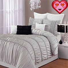 #duvets Luxury Duver Cover Set Romantica features technique style #pleating on this designer looking bedding set. In addition with fashionable D?cor Pillow and S...