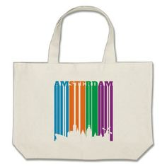 Amsterdam Letters Stripes in City Skyline Large Tote Bag - stripes gifts cyo unique style