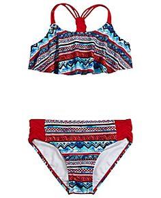 Aztec Flounce Bikini Swimsuit