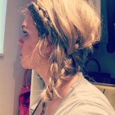 Hair braid messy blonde