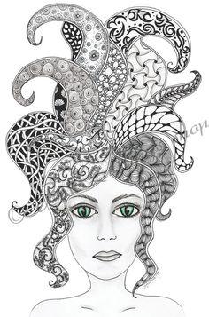 Taille d'origine « Mystère » de Zentangle Art Print A4/A3 Wall Art déco