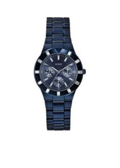 GUESS  Womens Blue-Tone Multifunction Sport Watch