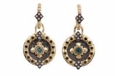 Armenta 18k Yellow Gold And Midnight Silver Heraldy Earrings Small Shield Drop Green Tourmaline, Black & White Diamonds   Now available at Diamond Dream Fine Jewelers https://www.facebook.com/pages/Diamond-Dream-Fine-Jewelers/170823023636 https://www.diamonddreamjewelers.com info@diamonddreamjewelers.com 908.766.4700