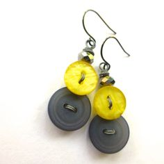 Yellow and Gray Upcycled Vintage Button by buttonsoupjewelry, $9.00