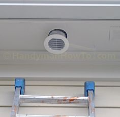 How to Install a Soffit Vent and Ductwork for a Bathroom Vent Fan. Mount the vent and connect the flexible duct to the vent and fan with photos.