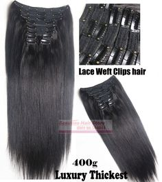 """163.20$  Buy now - http://alitf2.worldwells.pw/go.php?t=32600742638 - """"16""""""""-32''  Luxury Thickes 10pcs Set 100% Brazilian Remy Hair Clip In/on Human Hair Extensions lace weft #1B Off Black 400g"""""""