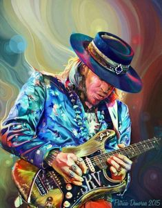 The original painting by Patricia Sobral - Stevie Ray Vaughn Stevie Ray Vaughan, Art Music, Music Artists, Music Wall, Music Life, Joe Bonamassa, Guitar Art, Srv Guitar, Stratocaster Guitar