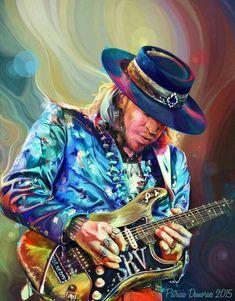 The original painting by Patricia Sobral - Stevie Ray Vaughn Ray Vaughan, Album Art, Original Paintings, Art Music, Music Artists, Musician Art, Vaughan, Guitar Art, Rock Art