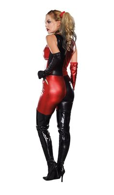Have a blast rocking this Harlequin Blaster Costume. You will own your bad girl look, with just a touch of evil, when you slip into this oh so sexy jumpsuit. The chocker, elbow length gloves and toy knife complete this edgy look. Villain Costumes, Adult Costumes, Black Leather Gloves, Leather Pants, Leather Jumpsuit, Unique Couple Halloween Costumes, Halloween Ideas, Halloween Party, Halloween Decorations