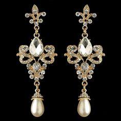 Gold Fleur de Lis Vintage look Crystal and Pearl Wedding Earrings - Affordable Elegance Bridal -
