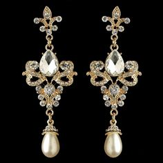 Gold Fleur de Lis Vintage look Crystal and Pearl Wedding Earrings - Affordable Elegance Bridal -