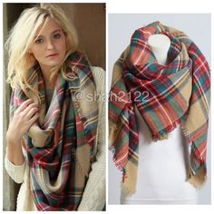"New Tartan Blanket Plaid scarf wrap shawl checked Brand New without tags. Retail item. Soft, cozy and warm. Tartan Blanket Plaid scarf wrap shawl checked. Very stunning and classic. So many ways to wear it. Material : 100% Acrylic. Measurement : 60""x 55"" Boutique Accessories Scarves & Wraps"