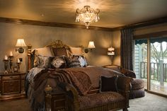 The color of the walls and ceiling along with soft, warm, lighting is just amazing. Master Bedroom